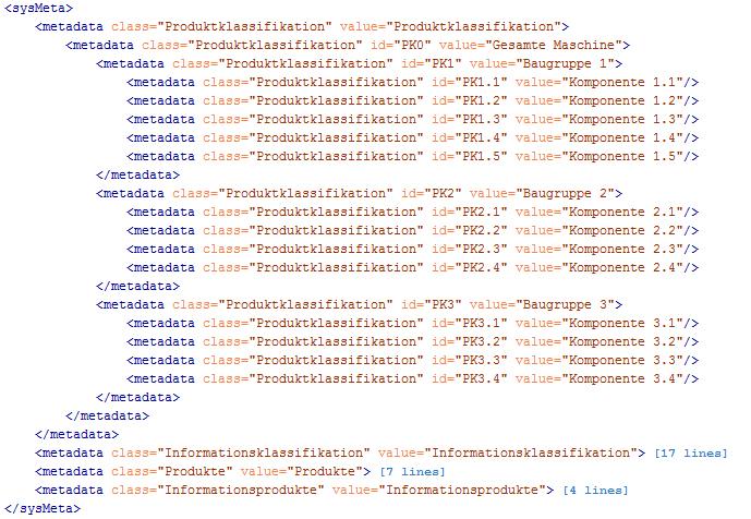 Export Übersicht über vorhandene Objektmetadaten und die dafür vorgegebenen Werte